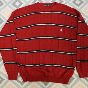 Vintage NAUTICA Striped Red Sail Boat Crew Sweater